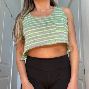 Soulcycle Gray Green Crop Workout Tank Top
